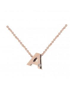 Collar con letra A en oro rosa de 18k con diamante