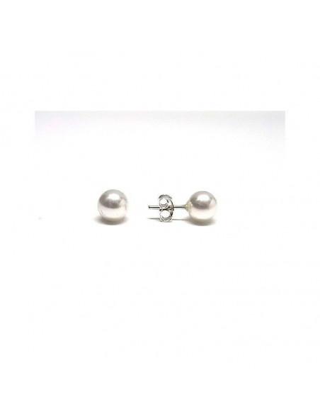 Pendientes de perlas cultivadas en plata de primera ley 925 de 6mm