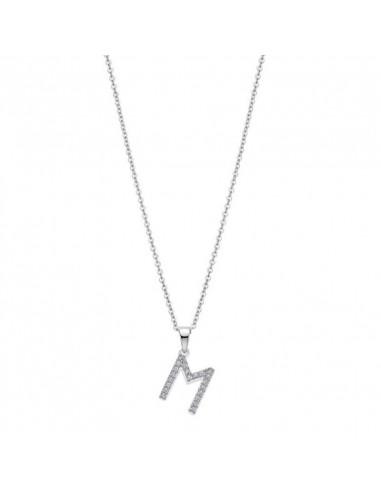 Collar con colgante letra M en plata de ley 925 y circonitas Lotus LP1958-1/M