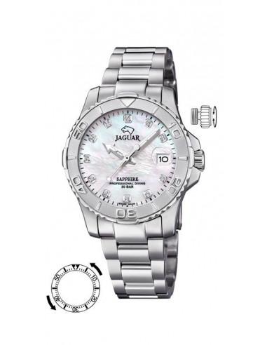Reloj para mujer Jaguar J870/1 de cuarzo Suizo en acero inoxidable, dial de nacar con circonitas, cristal de zafiro.