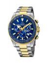 Reloj cronógrafo de hombre Jaguar J873/1 bi color plateado dorado edición Executive con dial azul y bisel azul mate,