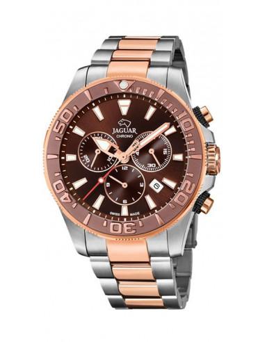 Reloj cronógrafo de hombre Jaguar J874/1 bi color plateado rosado Executive con dial marrón y bisel marrón mate