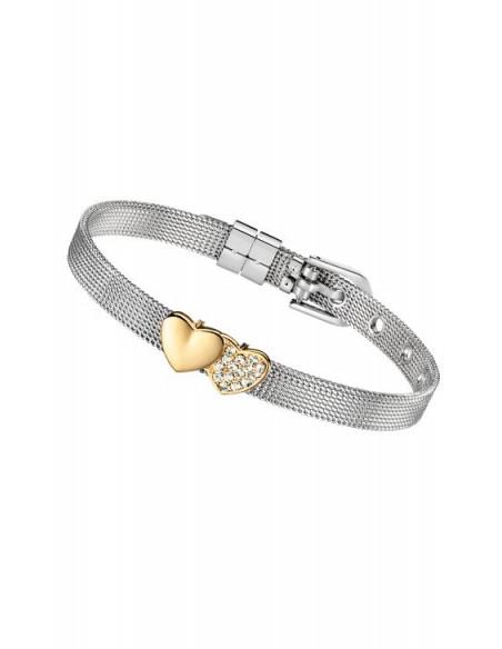 Pulsera Lotus LS2087-2/2 acero malla y charms corazones en dorado