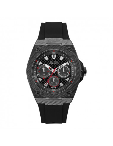 Reloj para hombre Guess W1048G2 de la colección Legacy, en acero negro con dial negro y correa de silicona negra.