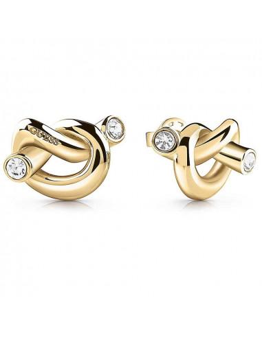 Pendientes Guess Knot nudo dorado UBE29013 en acero chapado en oro y cristales Swarovski®