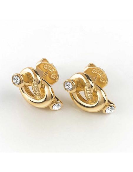 Pendientes Guess Knot nudo dorado UBE29013 en acero chapado en oro y cristales Swarovski® 2