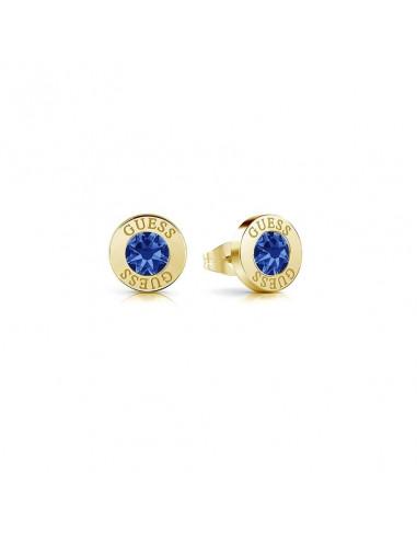 Pendientes de botón Guess Shiny Crystals UBE78101 en acero baño oro con cristal Swarovski® azul