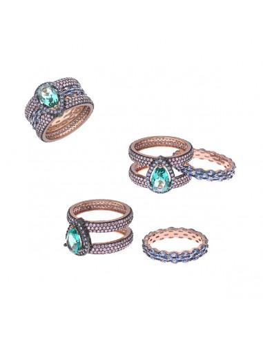 Sortija plata chapado rosa cristal turmalina s verde pera alrededor y anillo central espinel s azul ovalos