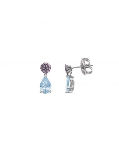 Pendientes de plata Salvatore con circonitas lila, gota azul con movimiento.