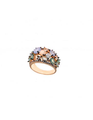 Anillo Salvatore 252S0015 en plata 925 baño oro rosa con piedras preciosas en talla 16