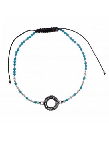Pulsera Salvatore 242P0008 de hilo negro con turquesa y motivo central en forma de O en plata con circonitas