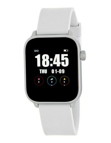 Reloj Marea Smart B59002/3, caja plateada cuadrada de 1,3 pulgadas y correa de silicona blanca