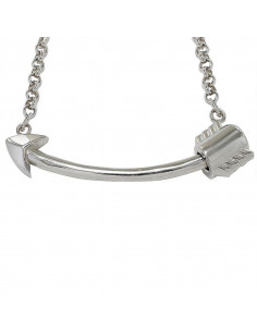 Collar abalorios Flecha recta con cadena rolo de 3 mm