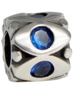 abalorio universo azul en plata de primera ley 925