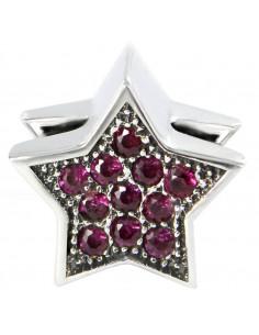 abalorio estrella rosa en plata de primera ley 925
