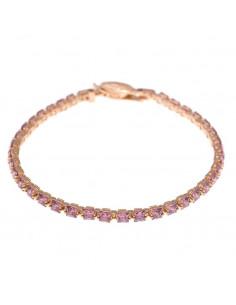 Pulsera Salvatore 136p0193 en plata con chapado de oro rosa con circonitas en talla princesa color rosa.