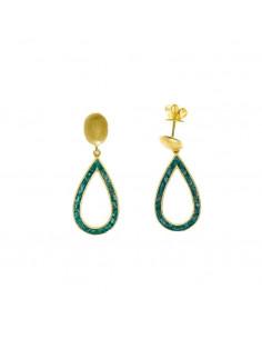 Pendientes Salvatore 163a0366 de plata chapada en oro dorado pera jade azul.