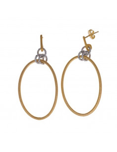 Pendientes Salvatore 203a0164 de plata chapada en oro dorado ovalo satinado y circulos chapados en rodio diamantado.