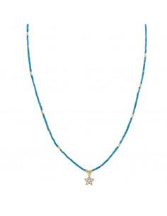 Collar Salvatore 213c0089 de plata chapado en oro dorado turquesa estrella circonitas blancas