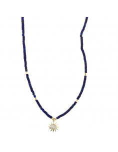 Collar Salvatore 213c0093 en plata chapado en oro dorado lapislázuli sol circonitas blancas.