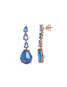 Pendientes Salvatore 234a0062 plata chapada en oro rosacon espinel azul y turmalina verde talla pera bajo chapado en rutenio.