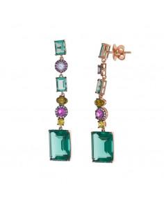 Pendientes Salvatore 234a0068 en plata chapada en oro rosa radiante con turmalina verde, bianlan, rubi, peridoto y circonitas.