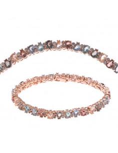 Pulsera Salvatore 240p0017  plata chapada en oro rosa con cristales champan, marron, verdes y azul aqua talla pera y circonitas.