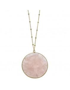 Collar Salvatore 247c0011 largo en plata chapado en oro dorado con gran circulo de cuarzo rosa.