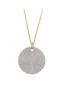 Collar Salvatore 249c0007 de plata chapado en oro dorado con colgante gran circulo ondado de circonitas en micro pavé.