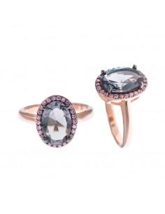 Anillo Salvatore 252s0028/16 talla 16 de plata chapado en oro rosa con cristal azul oval y circonitas rosas.