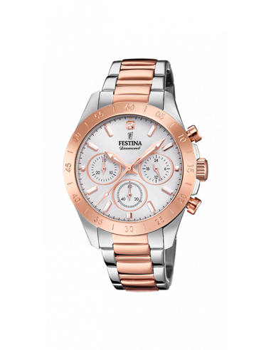 Reloj Festina de mujer F20398/1 colección Boyfriend en acero inoxidable y detalles en color cobre