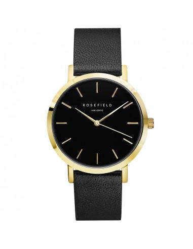 Reloj Rosefield the Gramercy en dorado, negro y correa de piel negra GBBLG-G36