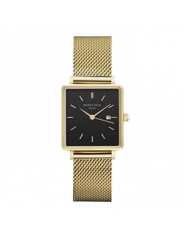 Reloj ROSEFIELD The Boxy en dorado con correa de malla y dial negro QBMG-Q06