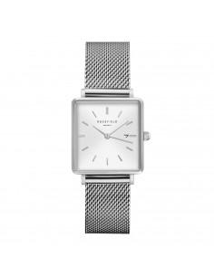 reloj ROSEFIELD The Boxy en plateado con correa de malla y dial plata QWSS-Q02