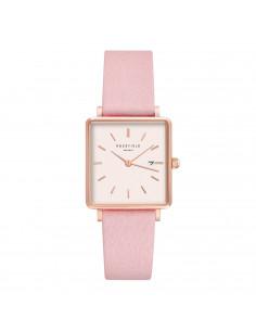 Reloj ROSEFIELD The boxy rosado y piel rosa QWPR-Q11