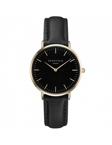 Reloj ROSEFIELD The Tribeca dorado, dial negro y piel negra TBBG-T56