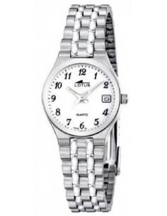 710981866251 Reloj Lotus clásico de mujer 15032 1 plateado con dial blanco y calendario