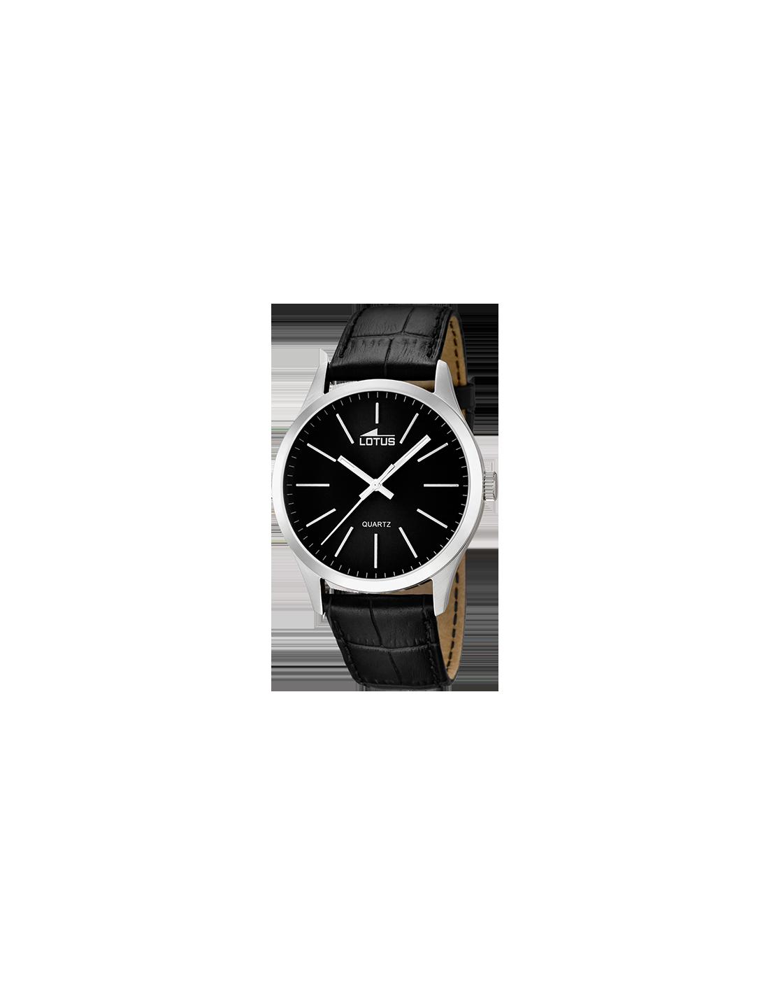 d0febd140345 Reloj de hombre Lotus Minimalist 15961 3 plateado con dial negro y correa  de piel