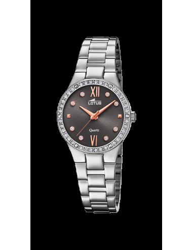 Reloj Lotus Bliss 18460/2 en plateado y dial negro, con circonitas en bisel y correa de armis