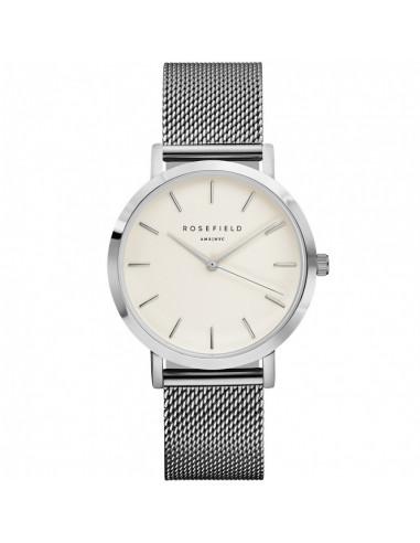Reloj ROSEFIELD The Mercer plateado y blanco MWS-M40