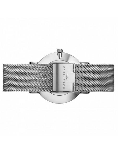 Reloj ROSEFIELD The Mercer plateado y blanco MWS-M40 vista inferior y cierre
