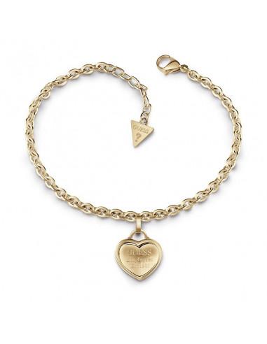 Pulsera de mujer Guess Follow My Charm dorado con colgante corazón UBB28025-S