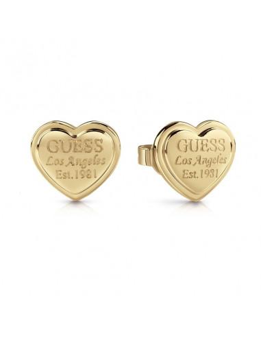 Pendientes de mujer Guess Follow My Charm en dorado con forma corazón UBE28009