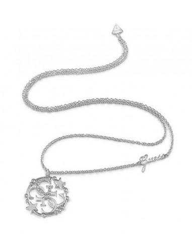 c37393a19dbe Collar de mujer Guess Stella G plateado con colgante circular logo G y  Swarovski UBN28019