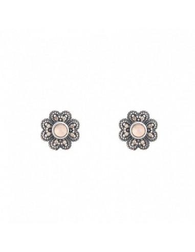 Pendientes de mujer Sunfield PE061411/15 en plata con circonitas y cuarzo rosa