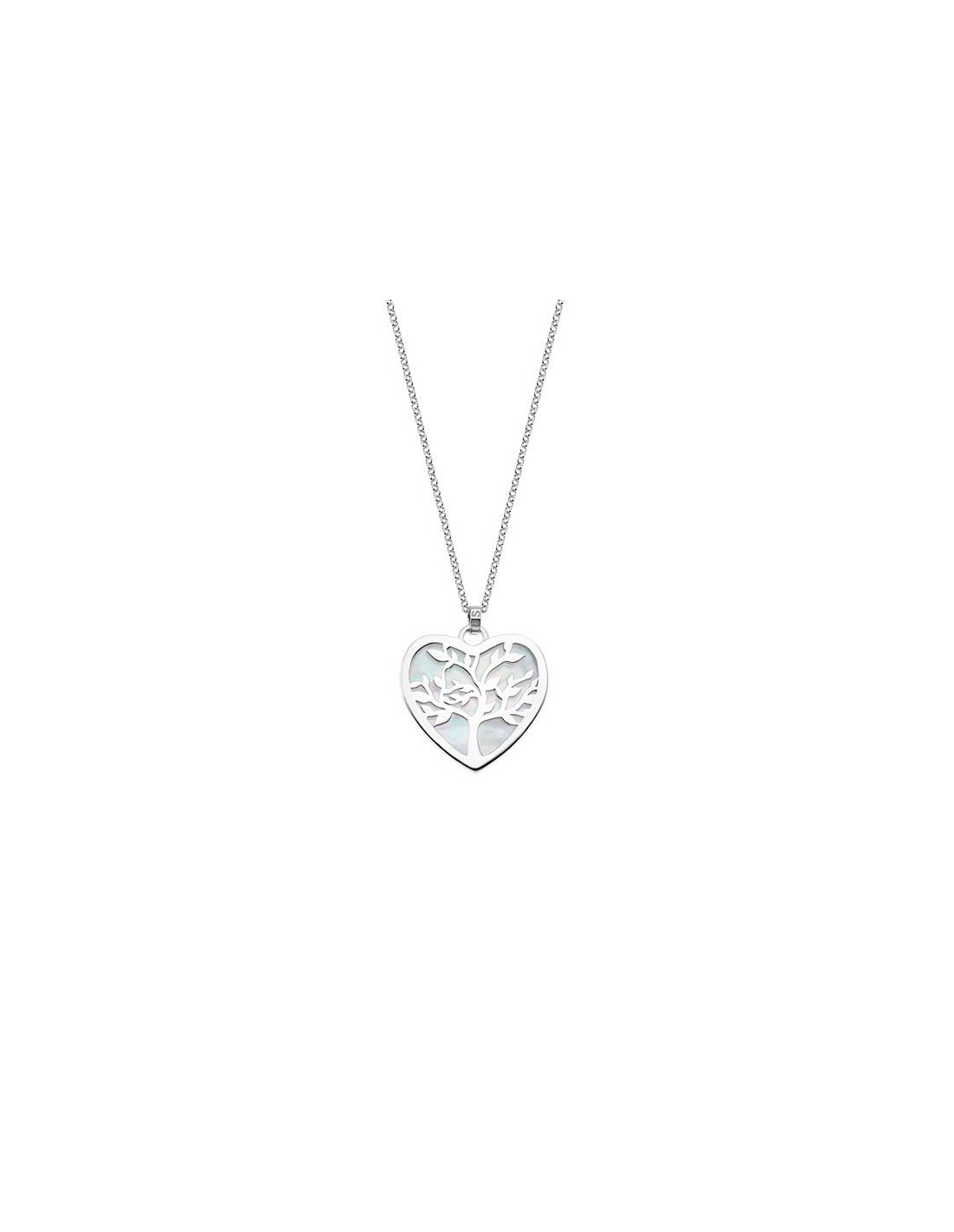 a9159f01be10 Collar de plata Lotus del árbol de la vida en forma de corazón con fondo de
