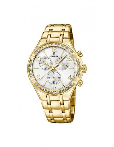 438570a9d862 Reloj Festina F20395 1 dorado con dial blanco y circonitas para mujer.  Correa y