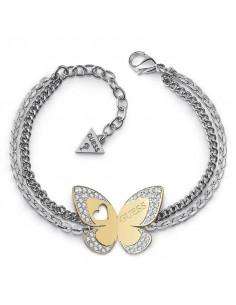 55a4a4fcf3e7 Pulsera de mujer Guess Love Butterfly con doble cadena plateada y mariposa  dorada con cristales Swarovski ...