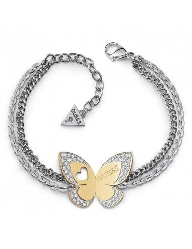 Pulsera de mujer Guess Love Butterfly con doble cadena plateada y mariposa dorada con cristales Swarovski® vista de frente