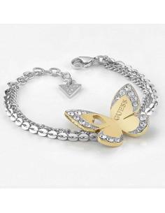 60941baefad6 ... Pulsera de mujer Guess Love Butterfly con doble cadena plateada y  mariposa dorada con cristales Swarovski